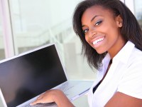 African Business Woman with Computer